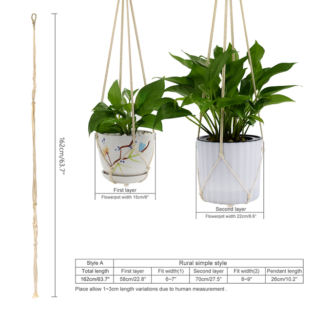 WITUSE 1PC Double Layer Handmade Cotton Pots Holder Hanging Basket Flower Hanger Flowerpot Macrame Lifting Rope For Garden Home