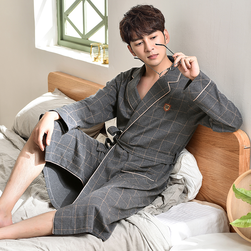 New Plus Size Bathrobe Male Plaid 100% Cotton Trendy Bath Robe Classy Kimono Men Kimono Hombre Good Quality Brand Yukata For Men