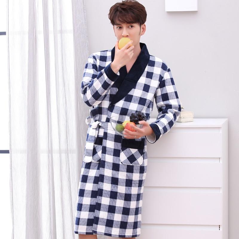 J&Q New Robe Male Cotton-padded Bathrobe Men Kimono Coton Male Yukata Plaid Dressing Gown High Quality Brand Belted Man Bathrobe