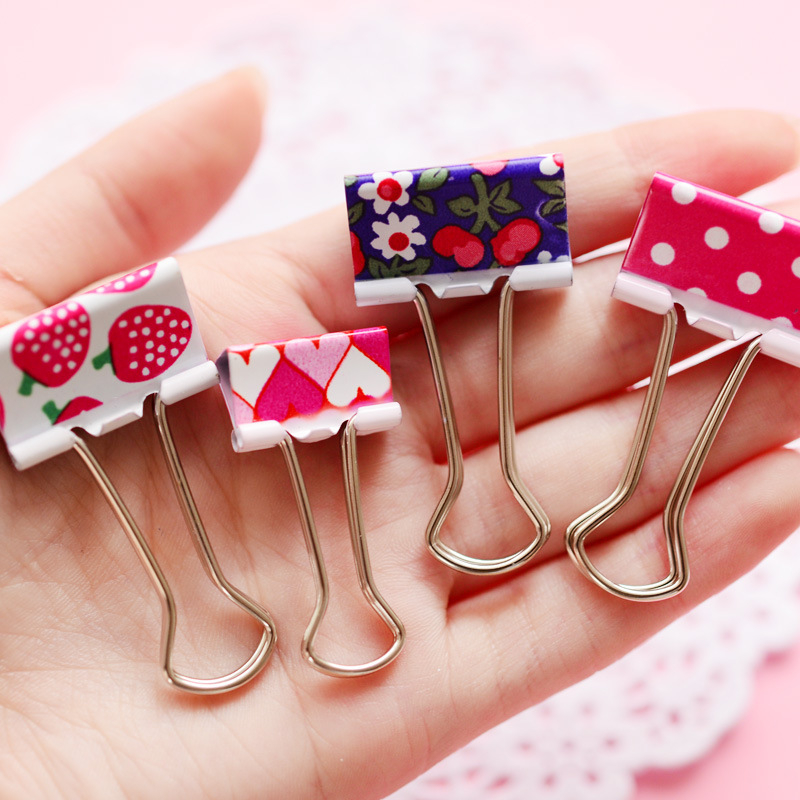 5 Pcs/lot Kawaii Printed Flowers Metal Paper Clips Decorative Cute Dot Strawberry Planner Clips Office School Suppllies