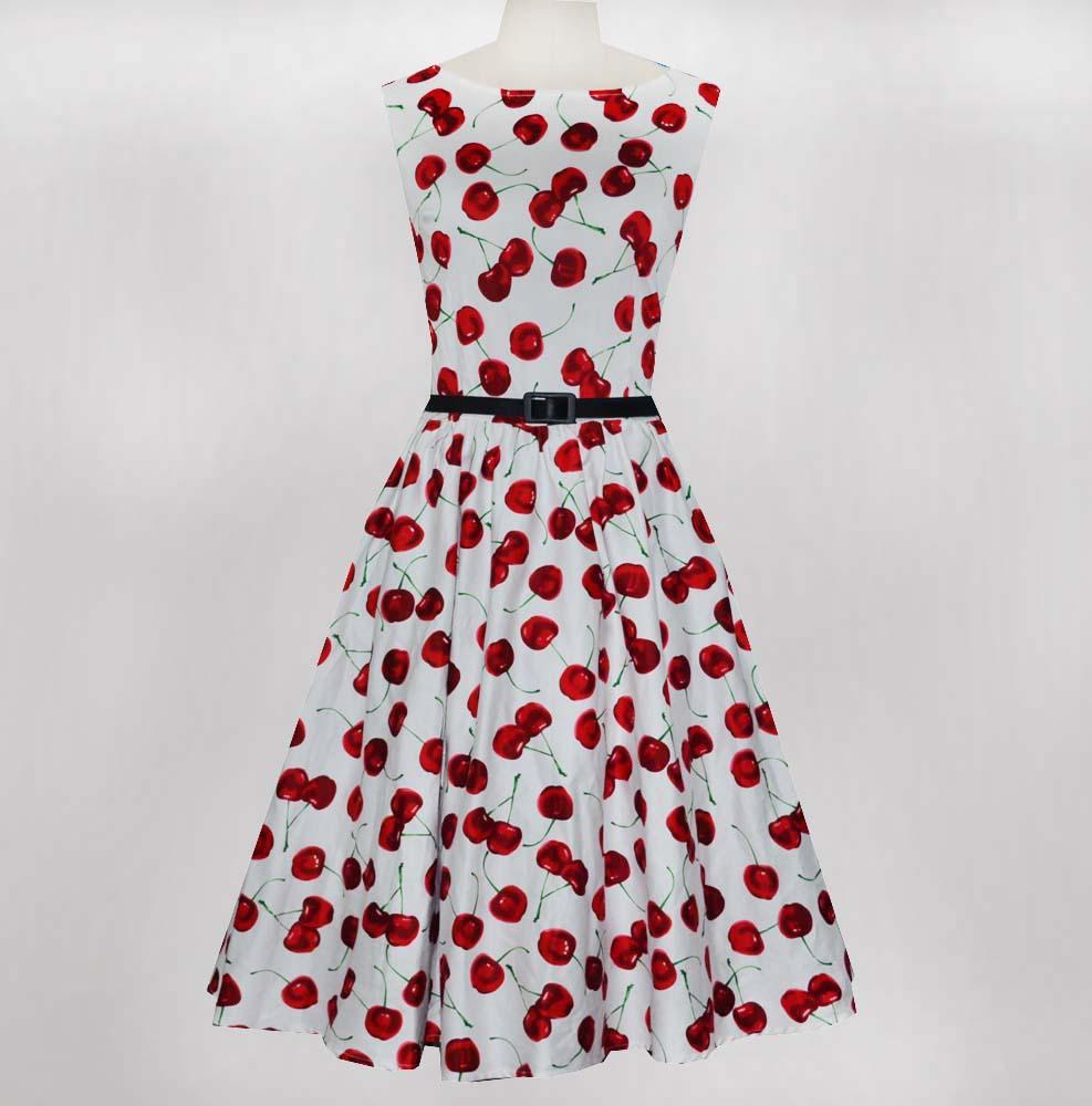 50s Audrey Hepburn retro dress cherry print ladies dresses