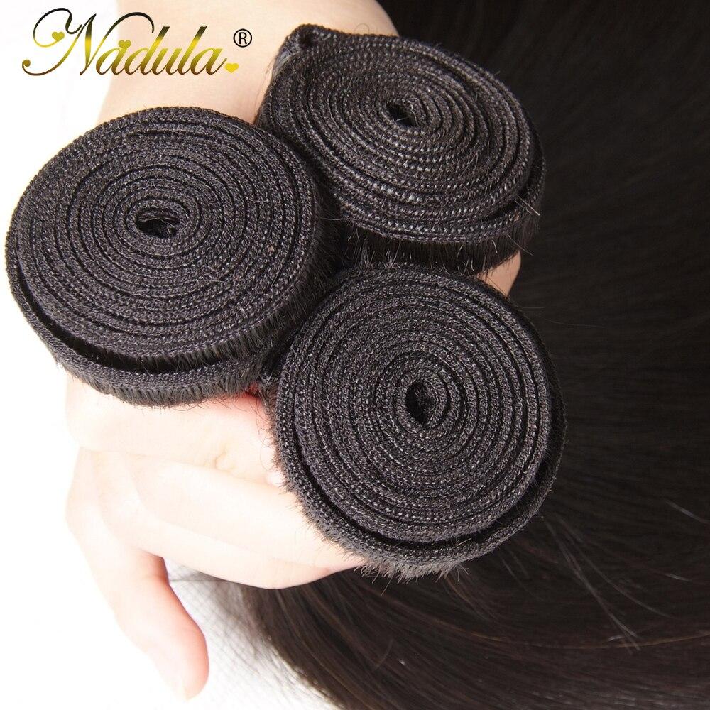 Nadula Hair  Straight Hair s 3pcs Hair Bundles Machine Double Weft 100% Human  Hair Bundles 4