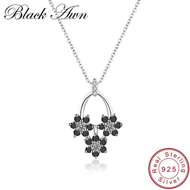 [BLACK AWN] Fine Jewelry Genuine 925 Sterling Silver Necklace for Women Female Bijoux Flower Sterling Silver Jewelry P016