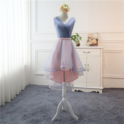 Beauty-Emily Tulle Pink   Bridesmaid     Dresses   2019 Short V-neck Lace Wedding Party Gown Formal   Dress   Robe De Soiree
