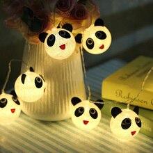 ФОТО 1m  animal  6cm panda cotton ball fairy battery operated string lights luminaria home decoration fiestas lamp