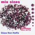Mix Sizes Dark Amethyst Nail Art Rhinestone ss4 ss6 ss8 ss10 ss12 ss20 ss30 Glass Crystal Non Hotfix Stone Glue 3D Nails H0243