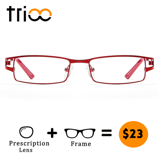 6789161b83ac TRIOO Myopia Glasses Women Prescription Eyeglasses Metal Square Red Frame  Clear Lens Astigmatic Eyewear High Quality Spectacles