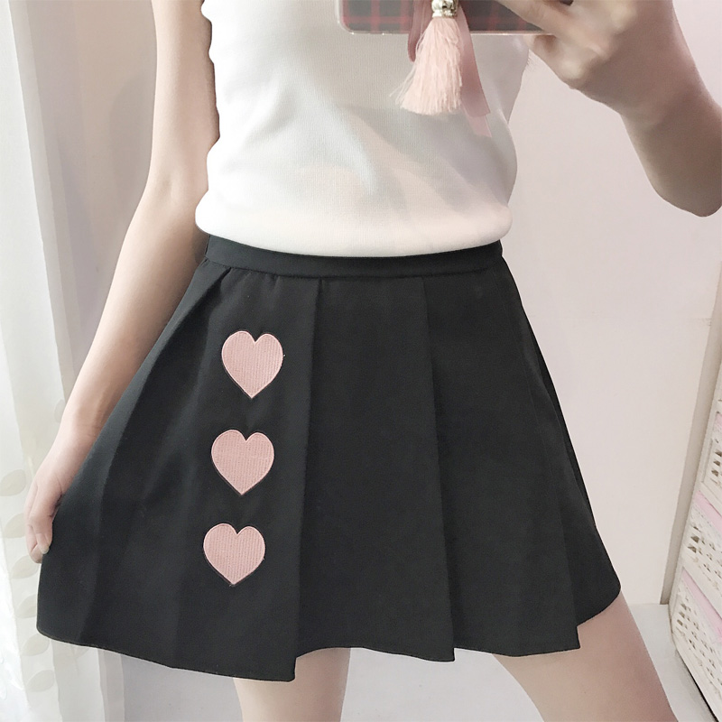 Women's new spring and autumn campus wind card wow Iraq love embroidery solid color high waist pleated skirt for girls