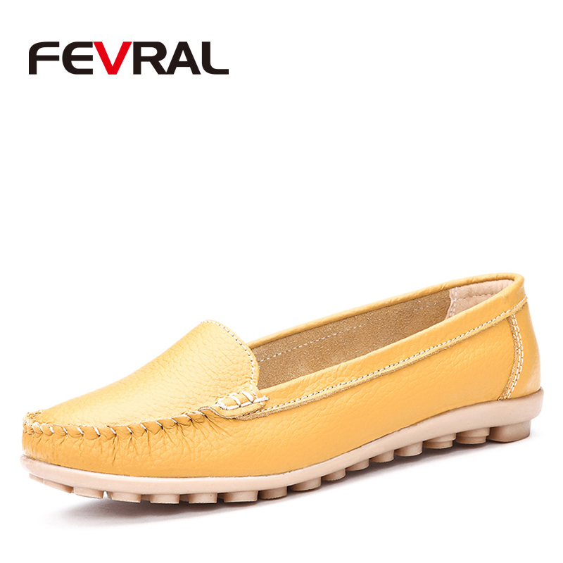 FEVRAL Woman Fashion Genuine Leather Style Slip-On Casual Pointed Toe Flat Non Slip Office Lady Soft Fashion Moccasins Shoes aqua vu 760 cz