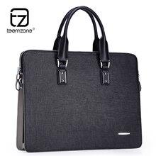 """Teemzone Luxus Mens Echtes Leder Aktentaschen 14 """"Laptop Aktentasche Business Reißverschluss Braun Schwarz Handtasche Weiche Rindlederbeutel T0793"""