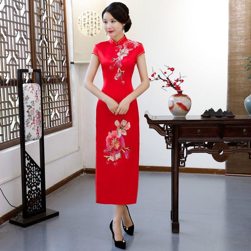 2018 Da Moda Alla Mandarino Sottile Signore Lungo Vestiti Estate Cheongsam  Colore Stile Qipao rosso Cinese Vestito Collare Donne Vestido Delle Di Rosa  ... bd76faedead