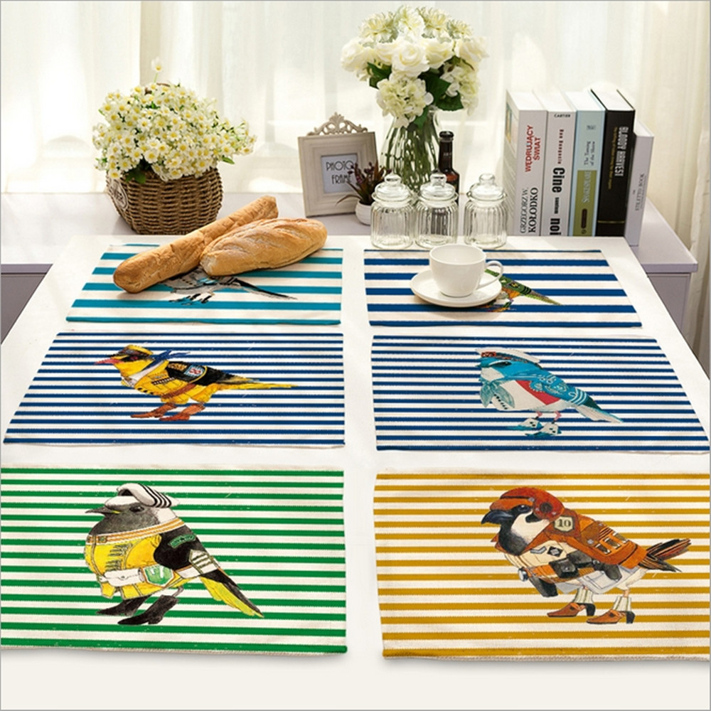 Home Decor Striped Bird Placemat Linen Fabric Table Mat Dishware ...