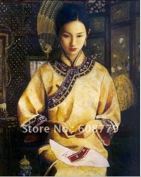 Free Shipping high quality beautiful chinese girls paintings