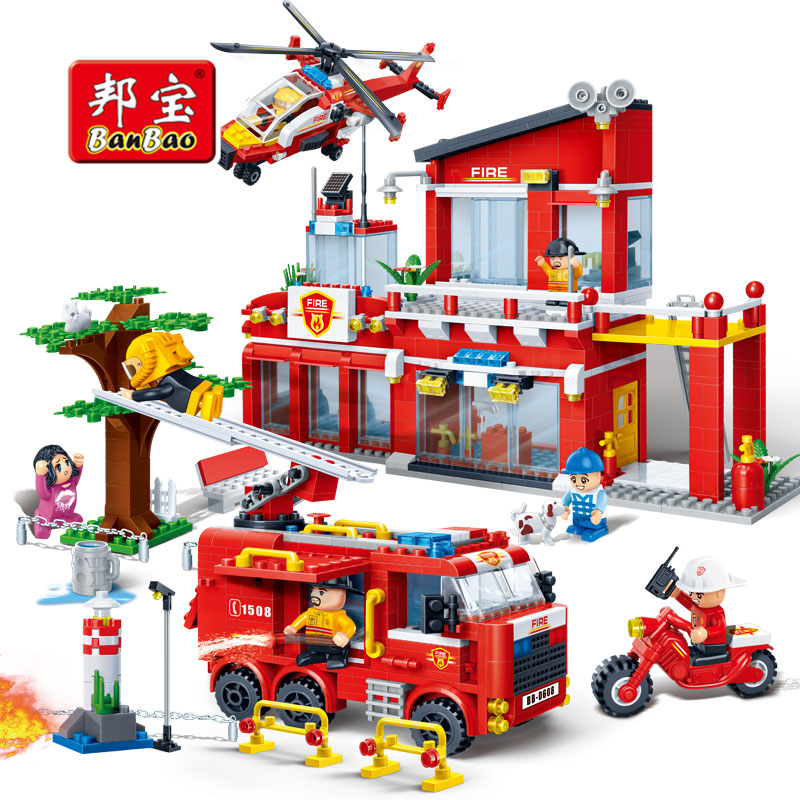 BanBao 7110 Fire Station Firefighters Truck Helicopter Educational Building Blocks Model Toy Bricks For Children Kids Friends