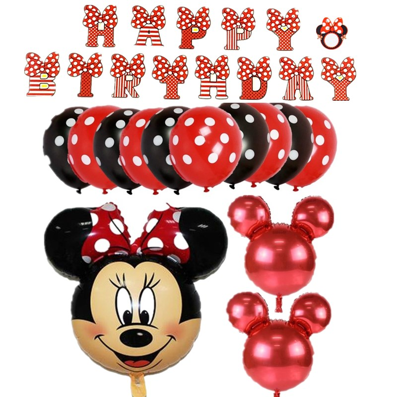 1set cute mickey minnie1 2 3 4 5 6 7 8foil balloons birthday party decorations supplies helium globos baloes red minnie ballons