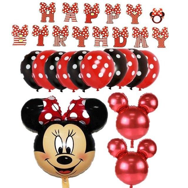 1 set mignon mickey minnie1 2 3 4 5 6 7 8 ballons en aluminium décorations de fête d'anniversaire fournitures hélium globos balos ballons minnie rouge