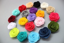 Free Shipping!2017 New 120pcs/lot 21colors Fashion handmade felt rose flower  Diy for hair accessories headband