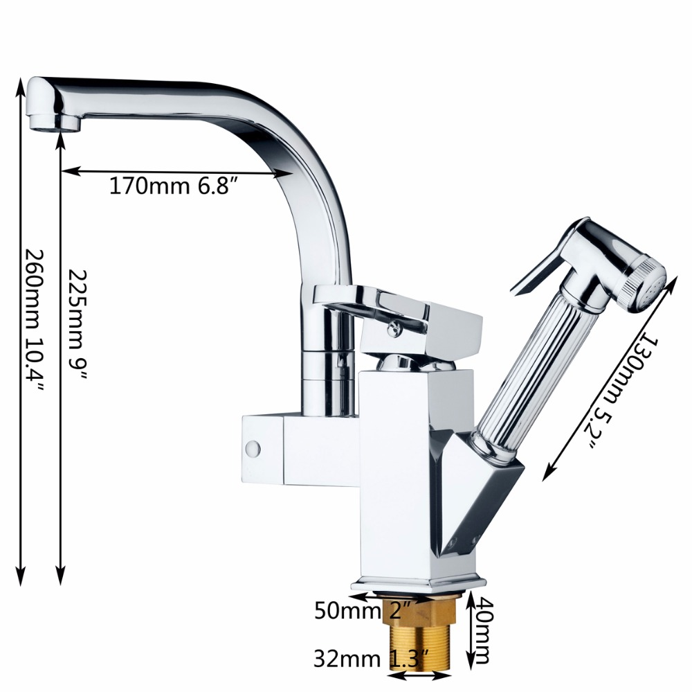 Chrome Brass Kitchen Faucet Pull Out Vessel Sink Mixer Swivel Spout Tap Deck Mounted Kitchen Faucet Single Handle Mixer Tap wanfan modern polished chrome brass kitchen sink faucet pull out single handle swivel spout vessel sink mixer tap lk 9906