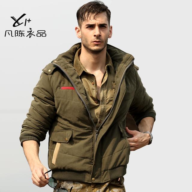 Campo de algodón acolchado de los hombres masculinos del diseño corto wadded prendas de vestir exteriores ocasional al aire libre militar a prueba de frío de algodón acolchado chaqueta