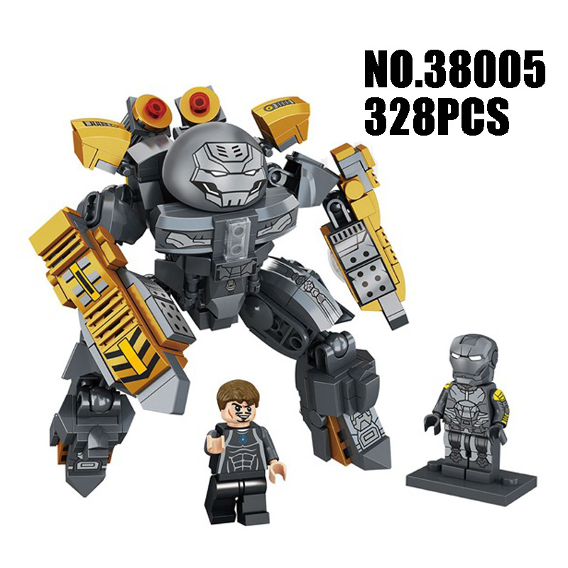 Compatible with Lego marvel model 38005 328pcs super heroes movie Iron Man Ironman Mech building blocks Bricks toys for children hot marvel superhero avengers iron man armor mk38 mech building blocks brick compatible legoeinglys toys for children gift