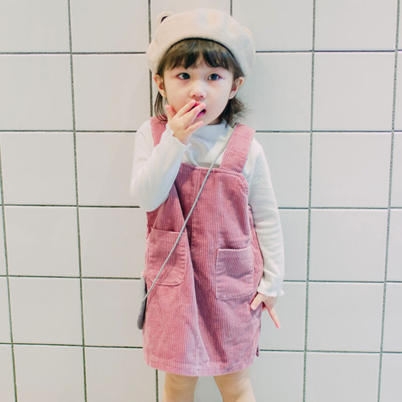 2018 New Baby Strap Dress Kids Cotton Dress Girls Corduroy Spring Dress Children Cute Dress Not Contain Shirt,2579