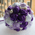 Romantic Purple White Ribbon Wedding Bouquet Decorative Artificial Rose Flower Bridal Crystal Pearl Silk Bridesmaid Bouquet W271