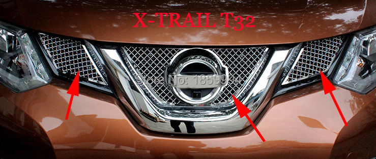 FOR 2016-2018 nissan X-TRAIL XTRAIL T32 front hood billet grille grill mesth horizontal trim for 2014 2015 2016 nissan x trail t32 rogue front bumper grille grill cover trim x trail xtrail abs car styling accessories 4pcs