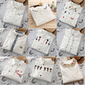 2017 Nova moda dos desenhos animados colarinho Bordado cor branca de algodão camisa de manga longa mulheres blusa escritório OL camisas das senhoras floral