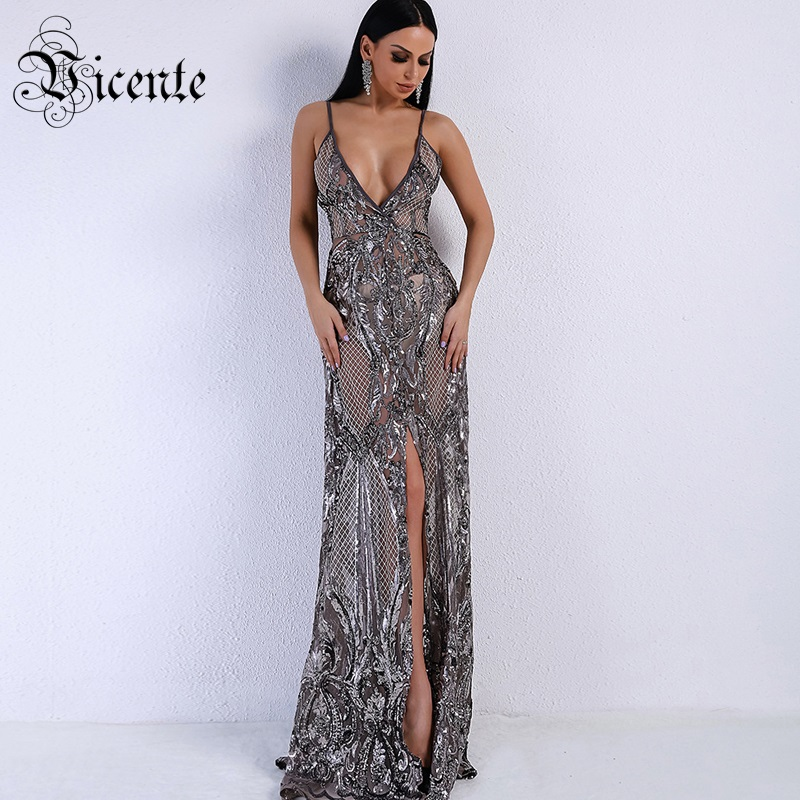 Vicente HOT Trendy Sequins Maxi Long Dress 2019 New Sexy V neck Wholesale Celebrity Party Wear
