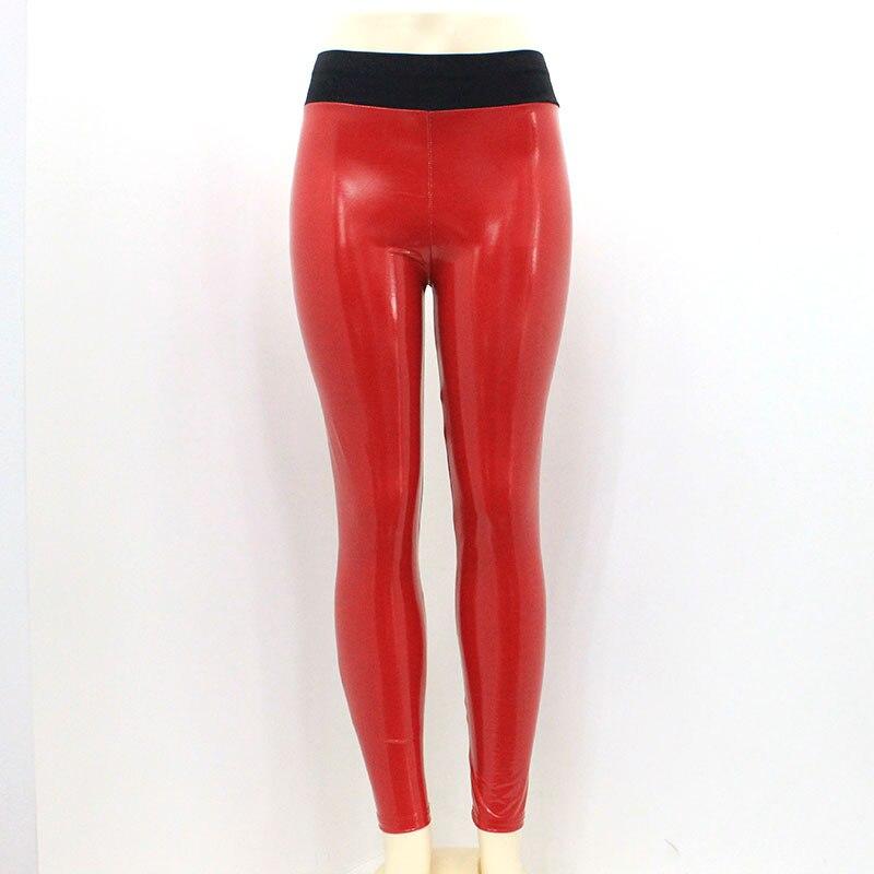Image 4 - Women Vinyl Leggings Wet Look PU Leather Leggings Black Slim Long Pants Women Sexy Push Up Skinny Red Silver Leggings Leggins-in Leggings from Women's Clothing