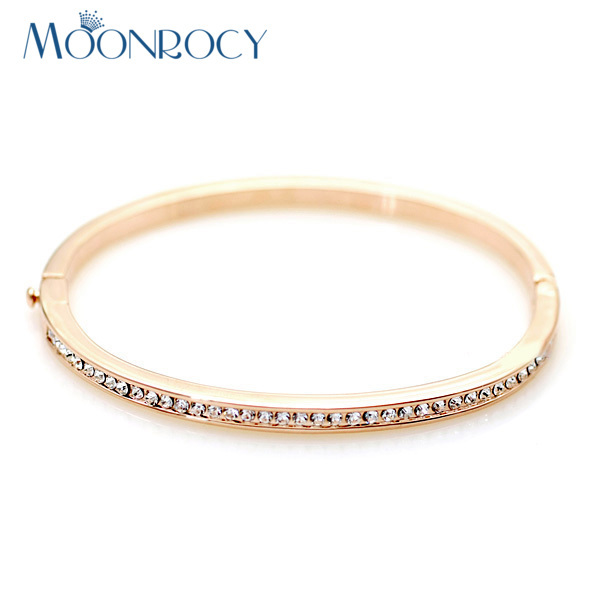 MOONROCY Free Shipping Fashion Austrian Crystal Bracelet Cubic Zirconia rose gold Color Jewlery for women Bangle Gift