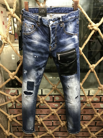 Ripped   Jeans   Men Holes Denim Super Skinny Men's Casual Stretch Trousers Slim Fit Scratched Pants More style Man Water washing