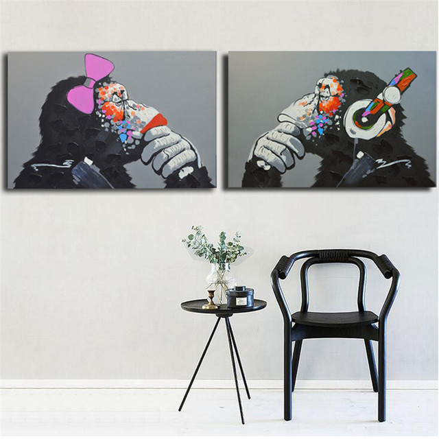 100% Hand Painted Gorilla Oil Painting On Canvas With Frame Handmade Abstract  Painting For