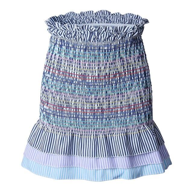 8e4a43cc116 Striped Tiered Ruffle Hem Smock Skirts 2018 New Summer High Waist Casual  Women Skirt Frill Pleated Mini Skirt
