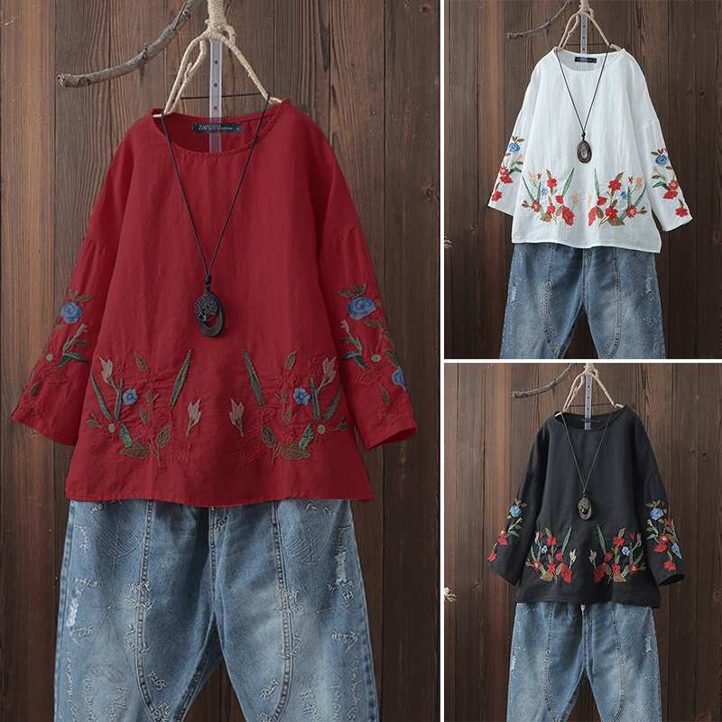 2019 ZANZEA New Women Cotton Linen   Blouse   Floral Embroider Blusas Femininas Ladies Work Office   Shirt   Casual Tunic Tops Plus Size