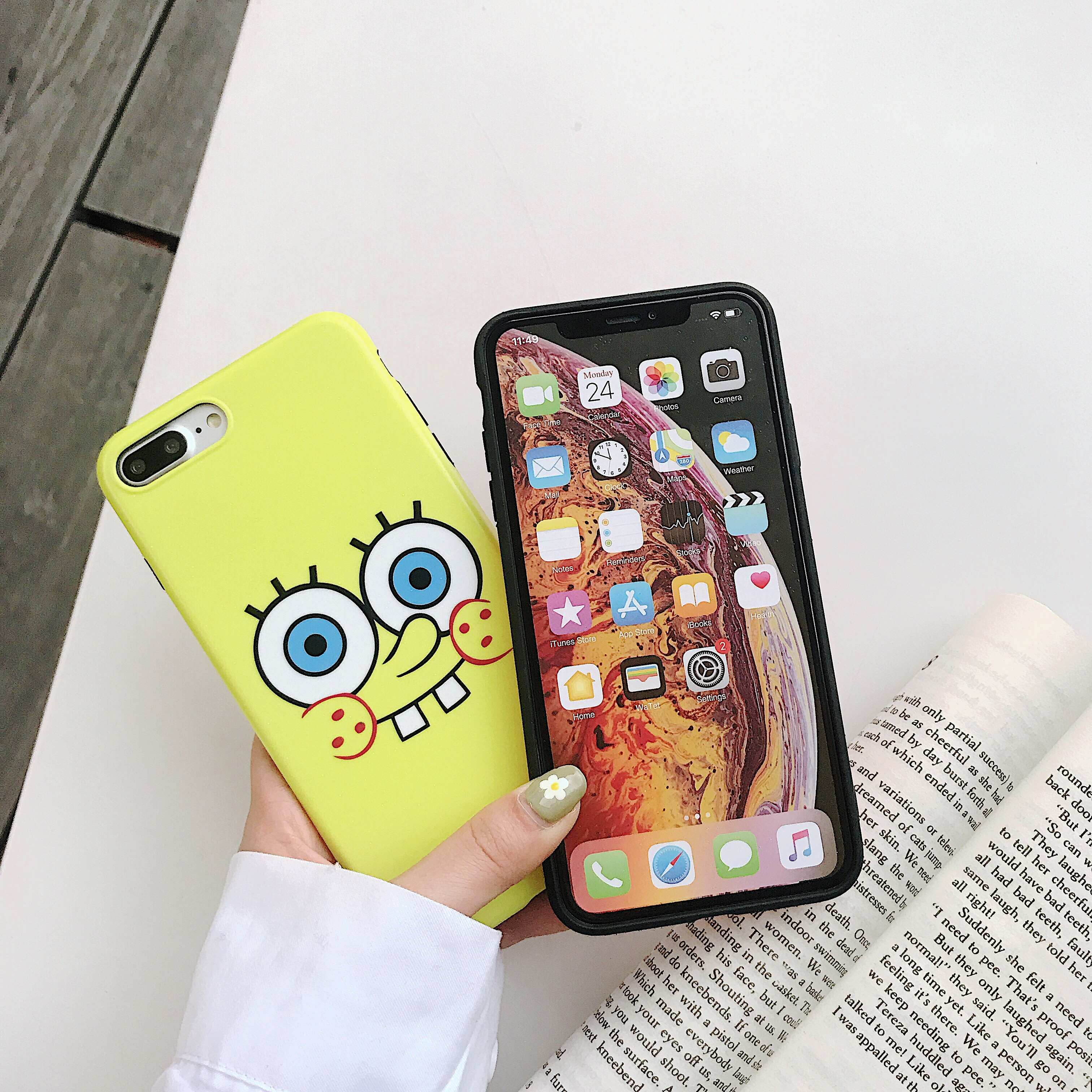 Cartoon SpongeBob PatrickStar Cute Phone Case Soft Cover For iPhone 6 6s 7 8 Plus X XS XR XSMax in Half wrapped Cases from Cellphones Telecommunications
