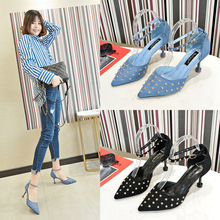 Fine-heeled rivets clear heels spring 2019 new sharp-edged one-word buttons sandals clear panel two part heeled sandals