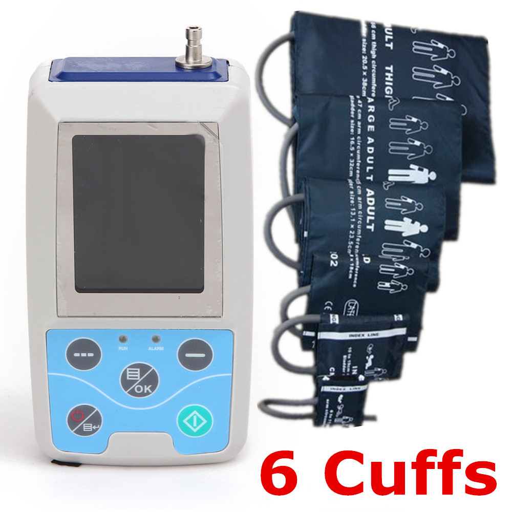 24 hours Ambulatory Blood Pressure Monitor System ABPM Free 6 cuffs! ABPM50 free 6 cuffs contec manufacturer shipping abpm50 24 hours ambulatory automatic blood pressure monitor nibp ce approved