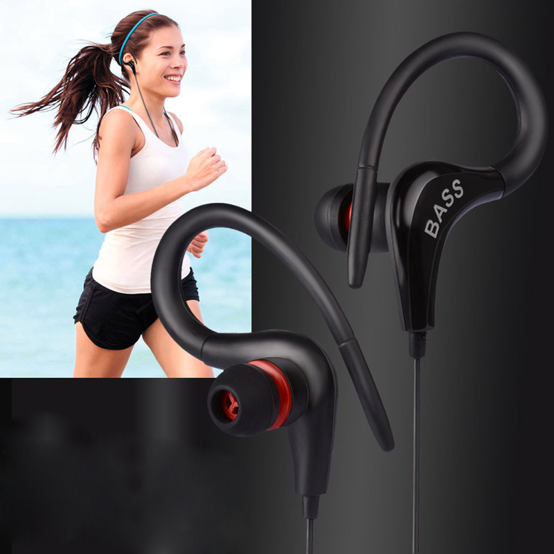 HESTIA Ear Hook Headset 3.5 MM Stereo Bass With Micrrophone Sport Running Earpiece Candy Color For iPhone Xiaomi Mobile Phone