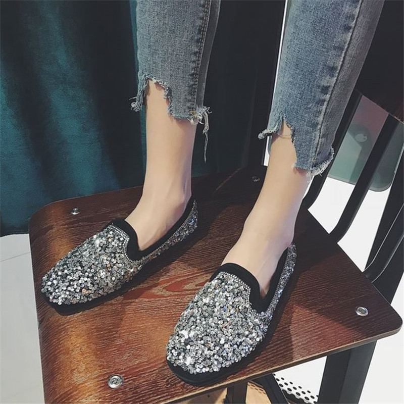 Women Shoes Fashion Women Ballet Flats Casual Spring Autumn Pointy Flats Shoes Woman Princess Shiny Crystal Party Wedding Shoes все цены