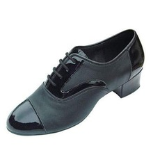 Mens Leather Dance Shoes Low Heel Black Salsa Shoes Latin Ballroom Dance Shoes Customized