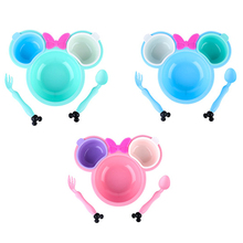 5pcs/set Baby Cartoon Eating Food Tableware Kids Dinner Plate Toddler Feeding Dishes Anti-hot Children Training Bowl Spoon Fork 3pc set baby dishes stainless steel baby spoon fork portable box set cartoon baby feeding food training tableware children spoon