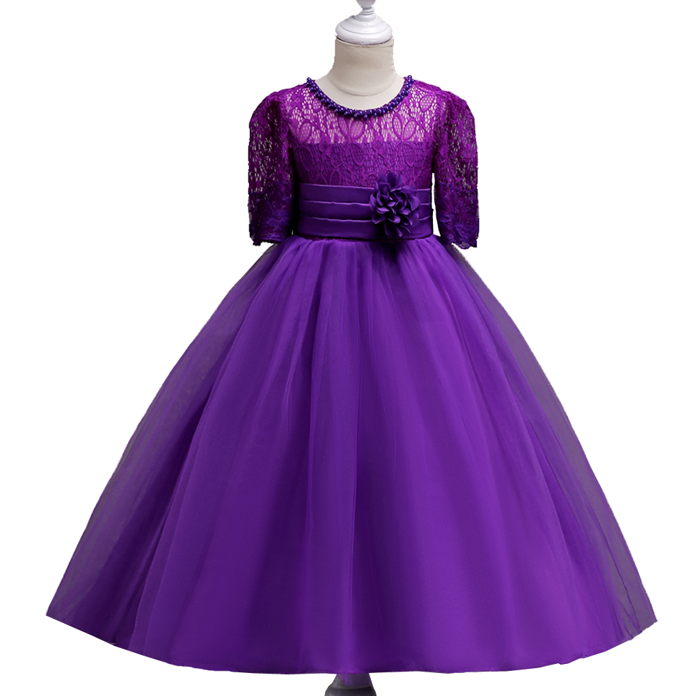 DS Kids Girls Wedding Flower Girl Dress Princess Party Pageant Formal Dress Gril's Lace Waist Flower Big Swan Long Dresses 4-15Y girls short in front long in back purple flower girl dress summer 2017 girl formal dress kids party princess custume skd014283