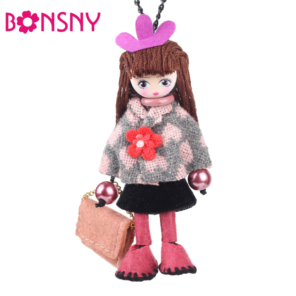 Bonsny Handmade Fashion French Doll Necklace For Women 2015 Winter Statement Par