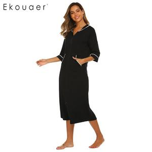 Image 4 - Ekouaer Women Hooded Nightgown Long Home Dress Solid Hooded Long Sleeve Zipper Robe Nightdress Ladies Sleepwear