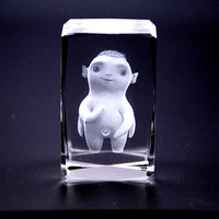 3D Laser Crystal Insiding Carving Cube Crystal Animal Wuba Paperweight Home Decor Ornaments Christmas Gifts