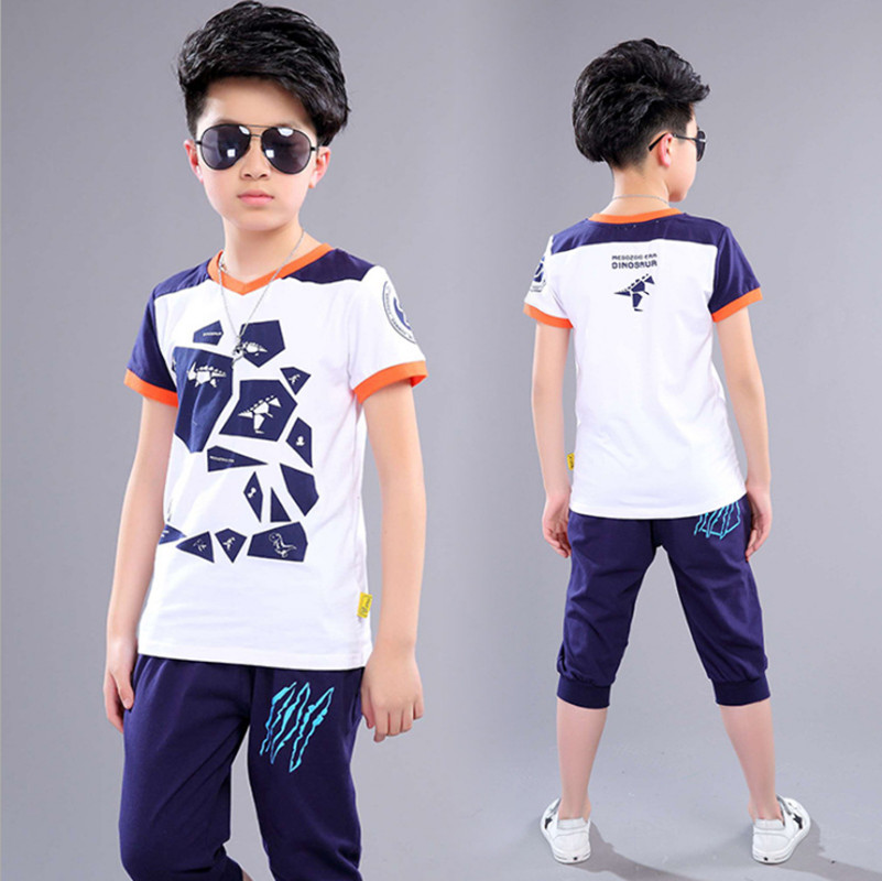 Summer Boys Clothing Set Sports Suit Short Sleeve Cotton Children Clothes Sets Elastic Waist Pants Set Color Navy For 5-14 Years