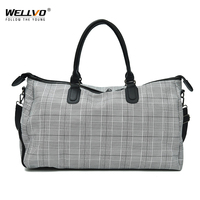 Wellvo Plaid Women Travel Bags Oxford Luggage Handbag Duffle Bags For Men Large Capacity Big Bag Travel Cubes Handbags XA11ZC