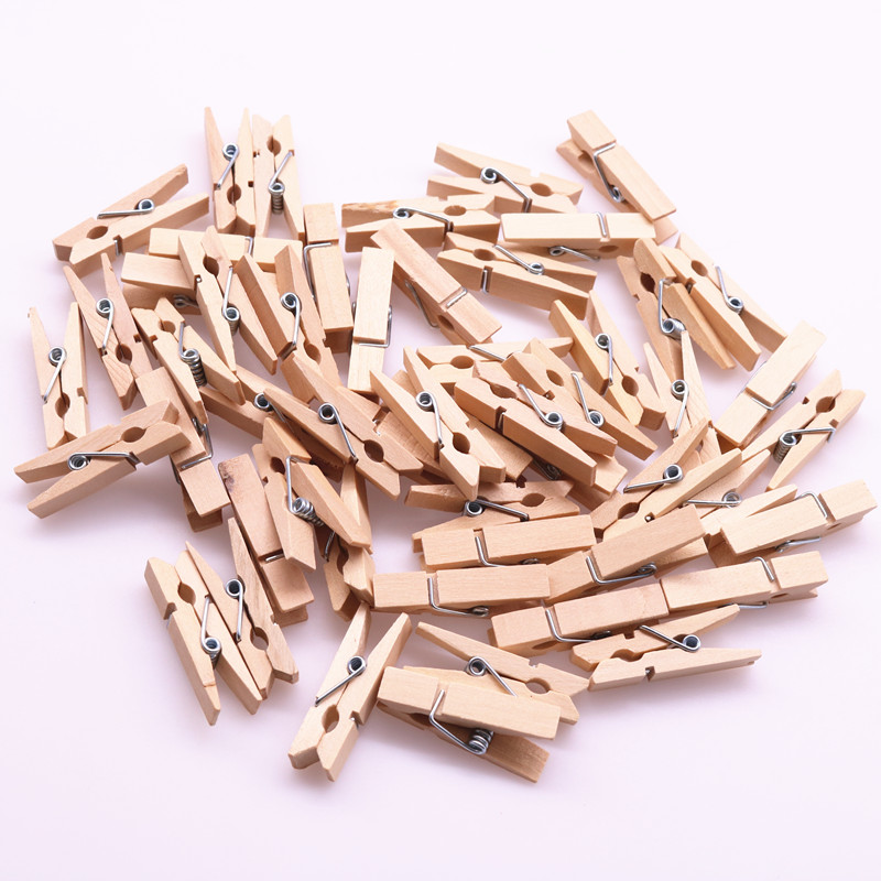 20pcs New Natural Color Wooden Clothespin Clips Album Photo Picture Paper Memo Pegs Craft Kids Scrapbooking DIY Decor