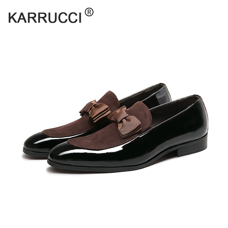 KARRUCCI Handmade Genuine Patent Leather And Nubuck Leather Patchwork With Bow Tie Men Wedding Dress Shoes Men's Banquet Loafers stylish star and stripe pattern patchwork 5cm width tie for men